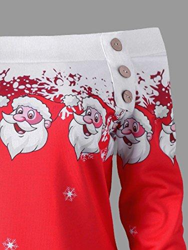 Coolred-femmes Épaule Incliné T-shirts Noël Noël Imprimé Rouge Robe Mi