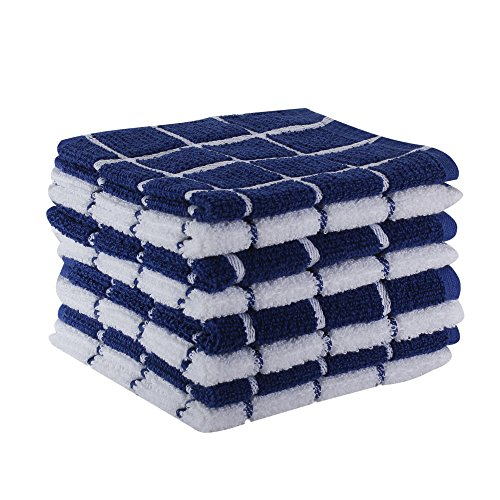 "The Weaver's Blend Set of 8 Terry Dish Cloths, Check Design, 100% Cotton, Absorbent, Size 12""x12"", Blue Check,Kitchen Towels and Dish Cloths by by The Weaver's Blend"