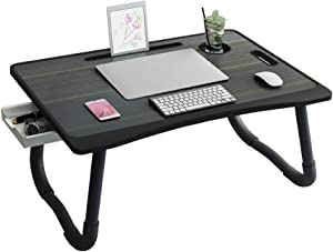 Laptop Desk for Bed, Portable Laptop Tray Table Notebook Stand Reading Holder with Foldable Legs & Cup Slot for Eating Breakfast, Reading Book, Watching Movie on Bed/Couch/Sofa, Black