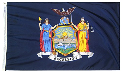 Annin Flagmakers Model 143850 New York State Flag Nylon SolarGuard NYL-Glo, 2x3 ft, 100% Made in USA to Official Design Specifications