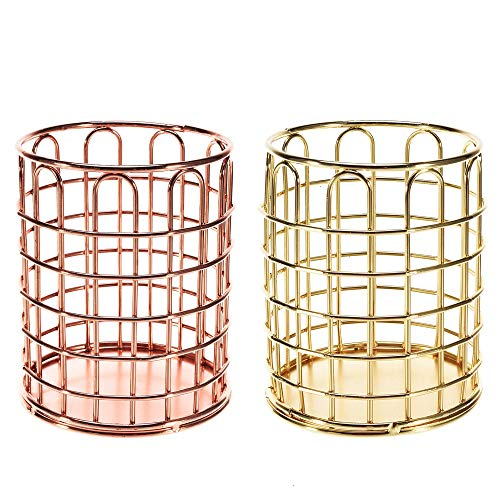 (Feeko Pencil Holder, 2 Pack Pen Holder for Desk Metal Wire Table Pencils Cup Organizer Make Up Container Desktop Decoration Gold and Rose Gold)