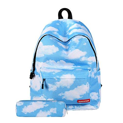 Women's Canvas Travel Bag Student Drawstring Bucket Backpack (Blue) - 1