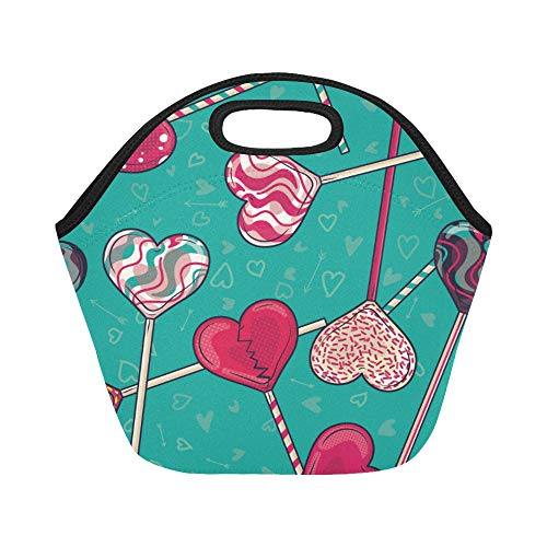 Insulated Neoprene Lunch Bag Rainbow Lollipop Sweet Color Creative Large Size Reusable Thermal Thick Lunch Tote Bags For Lunch Boxes For Outdoors,work, Office, School