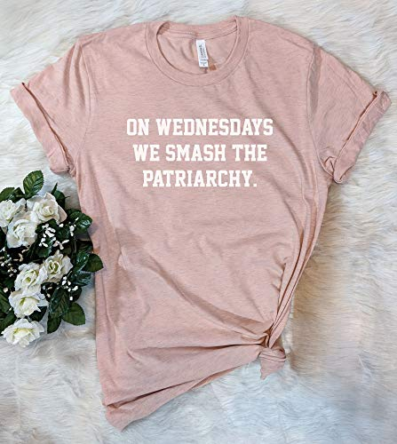On Wednesdays We Smash The Patriarchy Feminist T-Shirt Girl Power Womens Rights Shirt (Black On Black T Shirt Equal Rights)