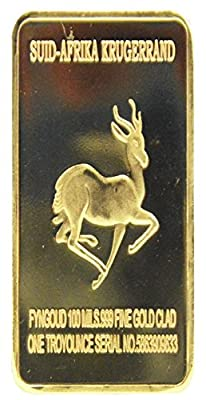 Krugerrand Lion 999 Gold Bar - Gold Bar Replica - Shipped from USA from Star Memories