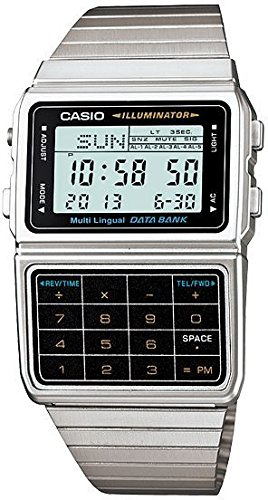 Casio DBC611-1 Mens Stainless Steel Databank Calculator Watch 5 Alarms Stopwatch