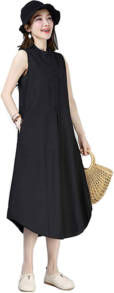 Lady Sleeveless Button Down Dress Collar Ethnic Top Plus ...