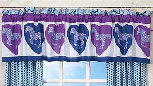 Country Living Girls Purple Blue Paisley Pony Horse Hearts Equestrian Window Treatment 16 w x 84 l Valance ONLY