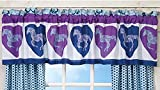 "Girls Purple & Blue PAISLEY PONY HORSE & HEARTS Equestrian Window Treatment 16""w x 84""l VALANCE (ONLY)"