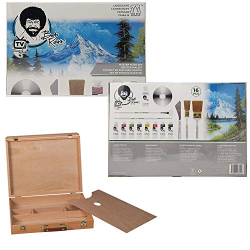 Bob Ross Master Artist Oil Paint Set Includes Wood Art Supply Carrying Case, Painting Palette]()