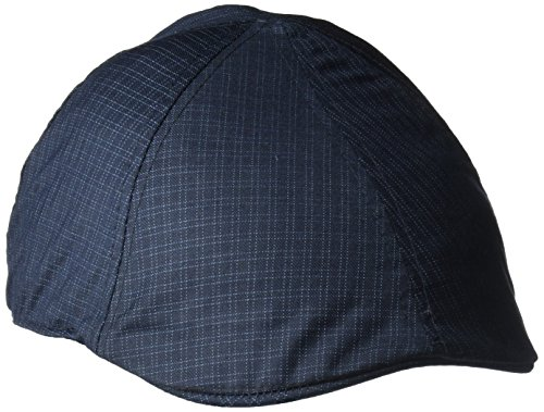 Van Heusen Men's Poly Check Plaid Flat Cap, 6 Panel Design, Navy Plaid, L/XL