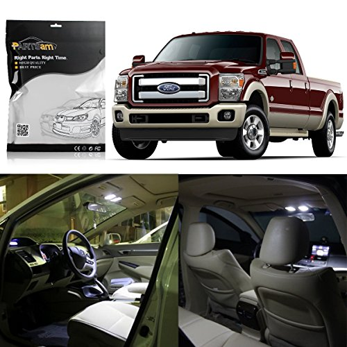 Partsam White Interior LED Light Package Kit Replacement Bulbs Compatible with Ford F-250 F-350 F-450 2005-2012 (8 Pieces) ()