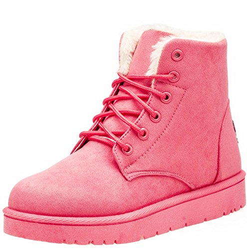 NOT100 Womens Snow Boots For Winter Ankle Boots Combat Walking Shoes Booties Red Pink Size 8