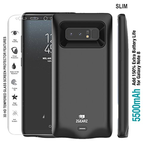 Galaxy Note 8 Battery Case, ZgearZ 5500mAh Slim Extended Rechargeable Battery Protective Charging Case. Included Tempered Glass Screen Protector. Use it as Portable Power Bank for Samsung Note 8 .