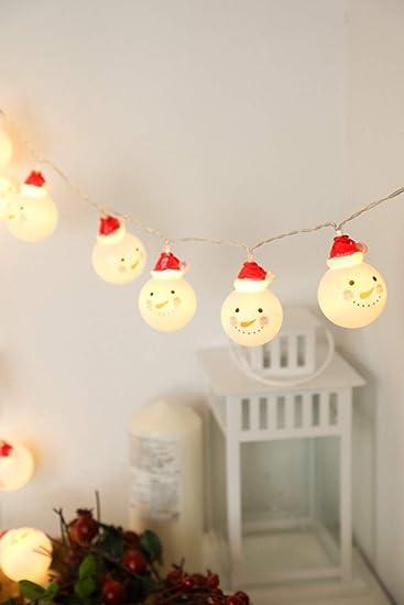 JUNMAONO 3M 20 LED Bulbos Muñeco Navideños Guirnalda Luces Navidad, Luces Arbol Aavidad, Guirnaldas Luminosas, Christmas Decoración, Iluminación de Navidad, ...
