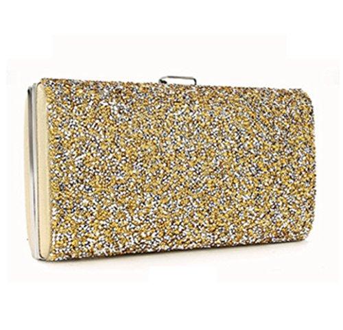 YYY WLQ Cross Bag - Diamond Shoulder Bag - Imitation Diamond Hand Bag - Bolso de fiesta para mujer - Bolso de mano - Bolso de novia,Dorado,bolso Dorado