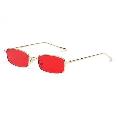 FLDONG Gafas de sol rectangulares pequeñas para hombre ...