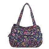 (US) Quilted Cotton Handle Bags Shoulder Bag (Purple)
