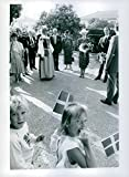 Vintage photo of The royal couple visiting Swedish school in Lisbon