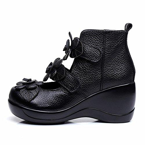 Cunzhai Vrouwen Unieke Handgemaakte Lederen Ongedwongen Reizen Zachte Bodem Boot Zwart