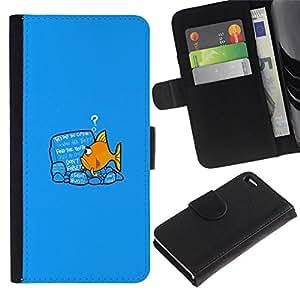 All Phone Most Case / Oferta Especial Cáscara Funda de cuero Monedero Cubierta de proteccion Caso / Wallet Case for Apple Iphone 4 / 4S // Reading Fish