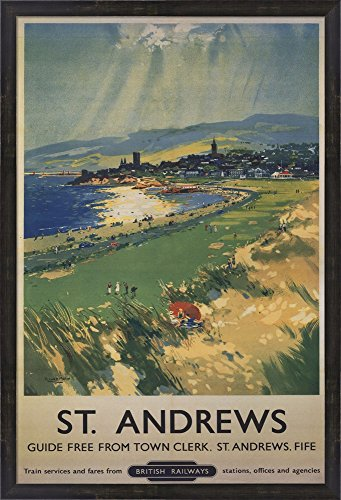 Vintage Golf - St Andrews Framed Art Print Wall Picture, Espresso Brown Frame with