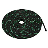 uxcell PET Braided Sleeving 16.4 Feet 5m Expandable Cable Wrap 16mm Diameter Wire Black Green
