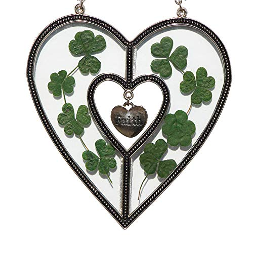 - Faith Heart Suncatchers Glass Suncatchers for Windows Heart with Pressed Flower Heart - Glass Heart Suncatchers Gifts Gift for Birthdays St Patrick's Day Decoration Irish Gift in-Law Gift, Irish Famiy