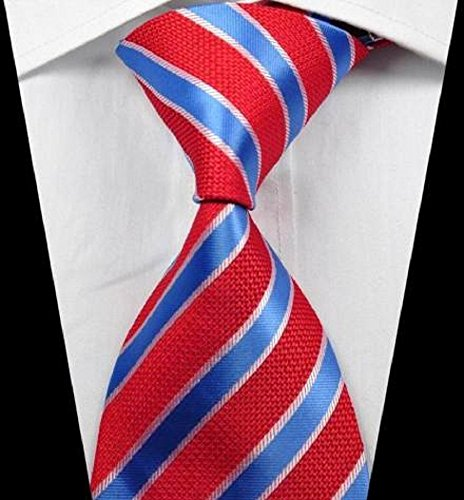 Dog Martini Halloween Costume (Dream Pole New luxury Stripes Red Blue White JACQUARD WOVEN 100% Silk Men's Tie Necktie cdc0110)