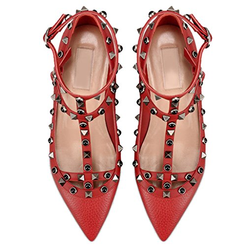 Women's Shoes Jushee Shoes T Rivets Toe Flat Classical 001 Ballerina Strap Red Studded Pointed dPnqaP