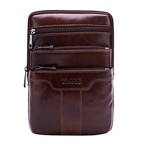 Leathario bolso de hombre de piel auténtico bandolera pequeña bolso mensajero de cuero de hombro para caballeros de tipo casual messenger bag de color marrón Marrón 2