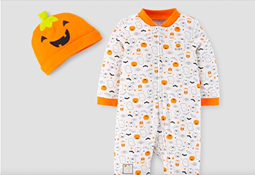 Carter's Just One You Neutral Baby Halloween Pumpkin Ghost Print Sleep N' Play- Orange/White (9 Months) ()