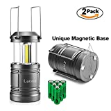 LED Camping Lantern - 2PACK Lantern Flashlight with 6 AA Batteries - Magnetic Base - 30 LED 500Lumen Camping light - Collapsible, Waterproof, Shockproof LED Lantern with Detachable Handles by Letmy