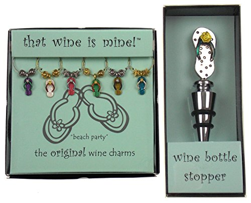 - Flip Flop Wine Charms & Bottle Stopper Bundle