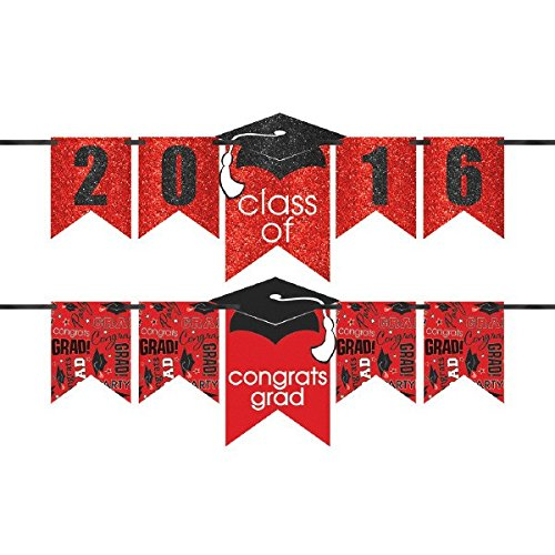 """Class of 2016"" Graduation Party ""Congrats Grad!"" Customizable Glitter Letter Banner Decoration, Red and Black, Paper, 12 Feet"