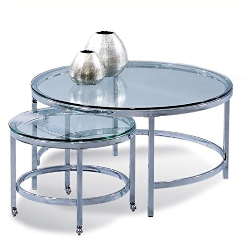 Bassett Mirror Patinoire Round Cocktail Table on Casters in Chrome Plate by Bassett Mirror Company