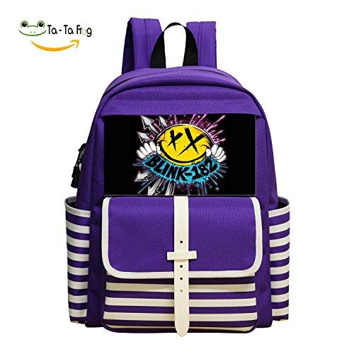 Oiguio Cute Blink-182 Logo School Backpack Bookbag Daypack Shoulder Bag Purple ()