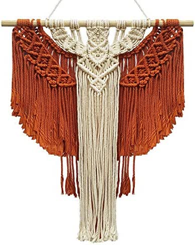 AN DUONG Handicraft Cooperative BohoMacrame Wall Hanging Décor, Eagles Macrame Wall Hanger 12,5 inches x 22 inches, Multicolor Bohemian Geometric Art Décor (Brown and Beige)
