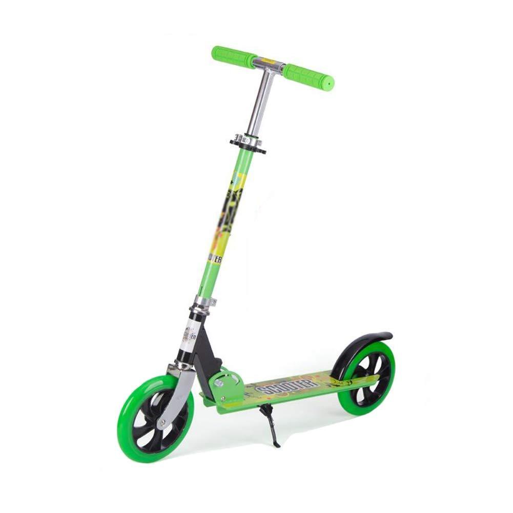 CMXIA Scooter Pieghevole Monopattino a Due Ruote, Scooter ad Altezza Regolabile per 3-18 Anni   Adulti ( Colore   verde )
