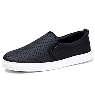 HKR Slip On Work Shoes for Women Comfortable Fall Casual Leather Sneakers 7 US Black(FY506heise36)