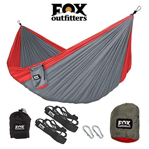 Fox Outfitters Neolite Double Camping Hammock – Lightweight Portable Nylon Parachute Hammock for Backpacking, Travel, Beach, Yard. Hammock Straps Steel Carabiners Included
