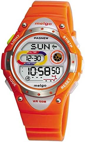 Pasnew LED Waterproof 100m Sports Digital Watch for Children Girls Boys (Orange)
