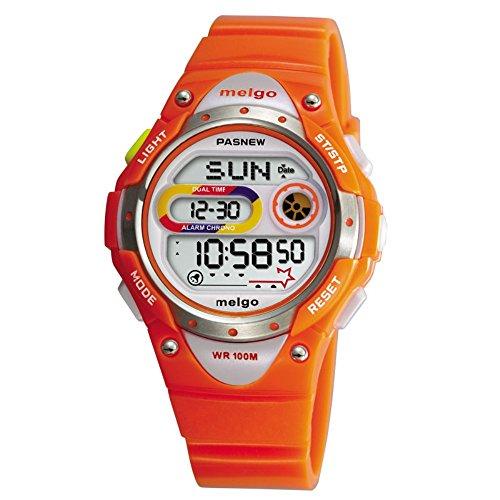 Pasnew LED Waterproof 100m Sports Digital Watch for Children Girls Boys (Orange)