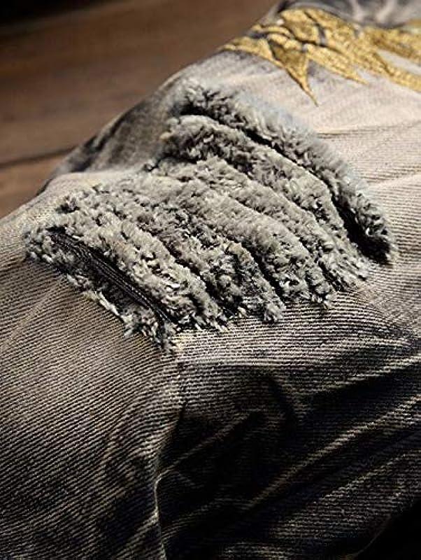 Jeans Jeanshosen 100% Baumwolle Streetwear Jeans Männer Europäische Und Amerikanische Persönlichkeit Stickerei Flügel Loch Jeanshose Retro: Sport & Freizeit