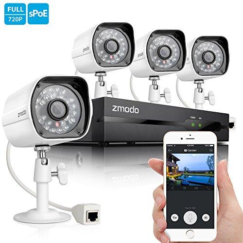 Buy Discount Zmodo Smart PoE 720P HD Security Camera System 4 x 720P Outdoor Night Vision Surveillan...