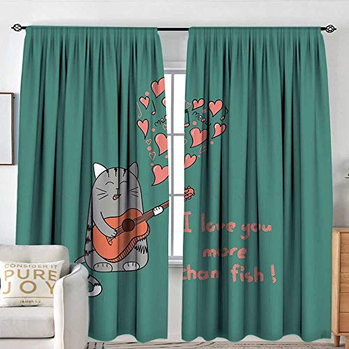 Petpany Rod Pocket Blackout Curtain I Love You More,Cat with Guitar More Than Fish Song Music Notes and Valentines Hearts,Multicolor,Decor/Room Darkening Window Curtains 120