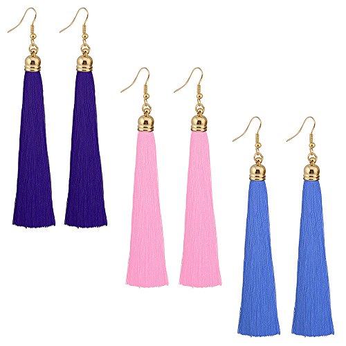 Tassel Dangle Threader Drop Earrings Ear Stud Long Fringe Thread Hoops Linear Tribal Charm Jewelry 3 Pack Pink Blue Light Blue