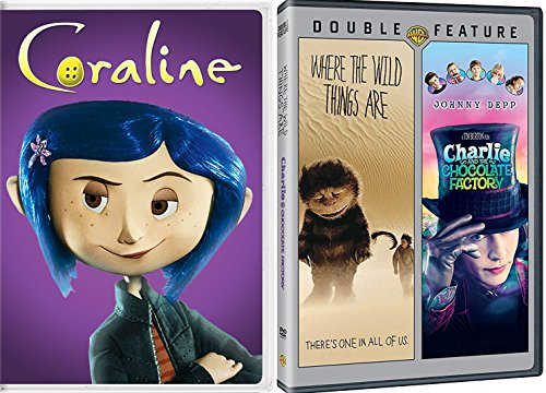 Charlie and the Chocolate Factory Tim Burton & Where the Wild Things Are + Coraline DVD Set / Classic Family Movie Bundle Triple Feature
