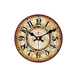 Asteria-Ashley Vintage Wooden Clocks Brief Design Silent Home Cafe Office Wall Decor Clocks for Kitchen Wall,Yellow,34cm(14Inch)