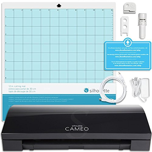 Silhouette Cameo 3 Limited BLACK Edition with Bluetooth, Auto Adjusting Cutting Blades, Vinyl Trimmer, 12x12 Mat, 110v-220v Power Cord, Warranty by Silhouette